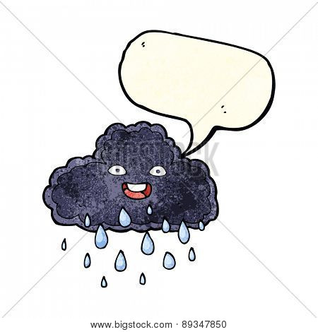 cartoon raincloud with speech bubble