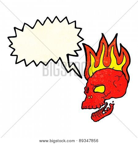 cartoon flaming skull with speech bubble