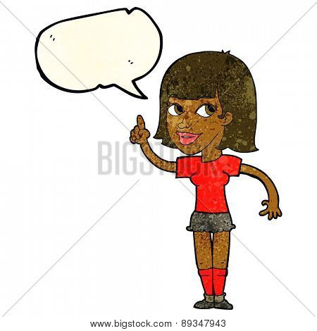 cartoon pretty girl with idea with speech bubble