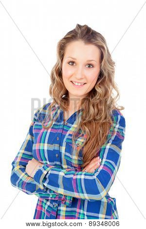 Casual girl with blue shirt isolated on a white background