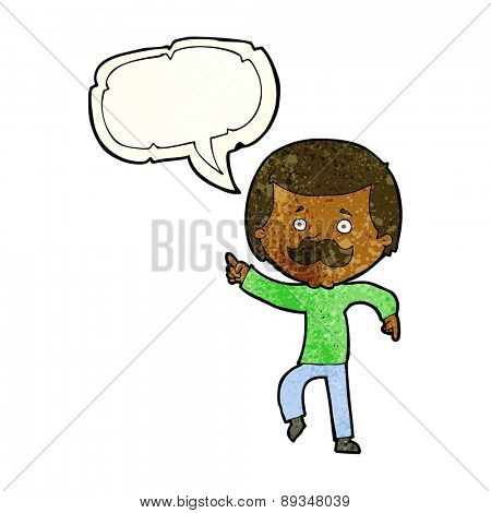 cartoon dancing dad with speech bubble