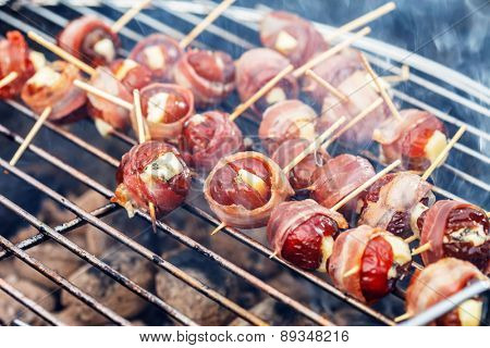 grilled dates with bacon and blue cheese