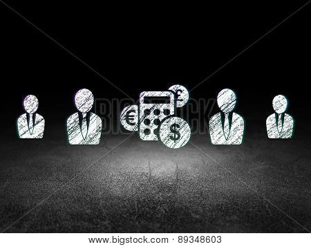 Business concept: calculator icon in grunge dark room