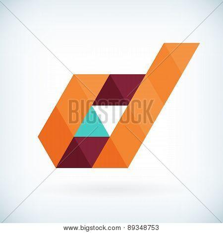 Modern Letter D Icon Flat Design Element Template