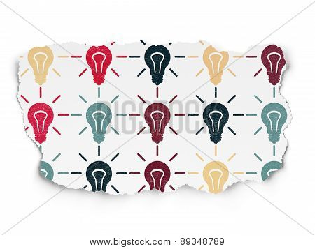 Business concept: Light Bulb icons on Torn Paper background