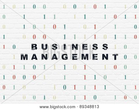Finance concept: Business Management on wall background