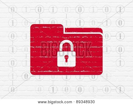 Business concept: Folder With Lock on wall background