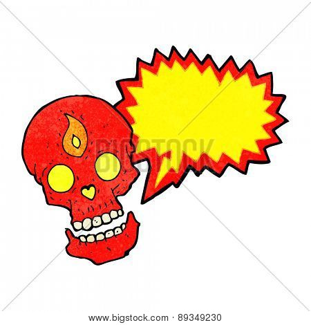 cartoon mystic skull with speech bubble