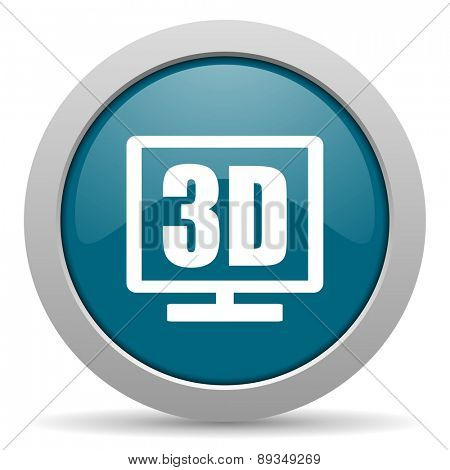 3d display blue glossy web icon