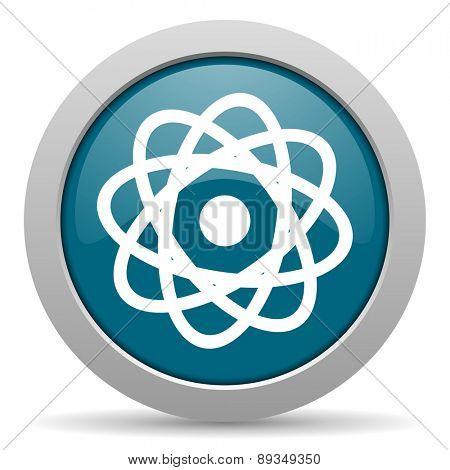 atom blue glossy web icon