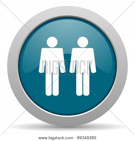 couple blue glossy web icon