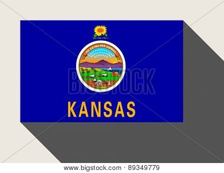 American State of Kansas flag in flat web design style.