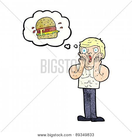 cartoon shocked man thinking about junk food