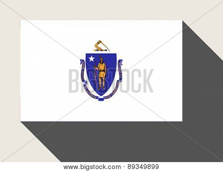 American State of Massachusetts flag in flat web design style.