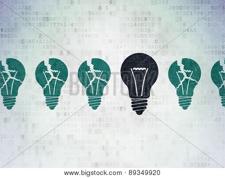 Business concept: light bulb icon on Digital Paper background