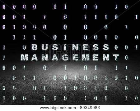 Business concept: Business Management in grunge dark room