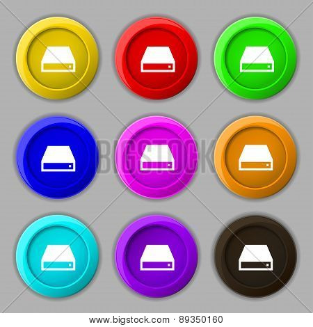 Cd-rom Icon Sign. Symbol On Nine Round Colourful Buttons. Vector