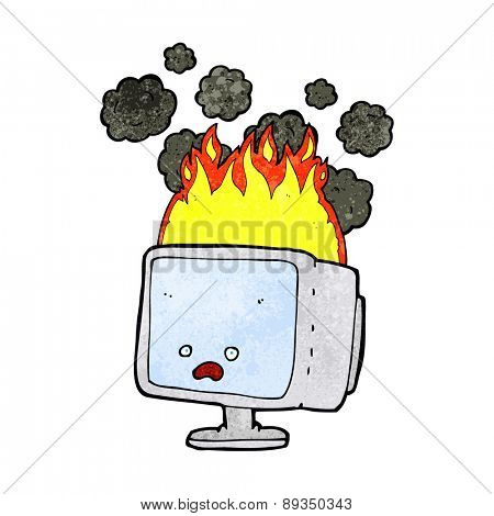 cartoon burning computer screen