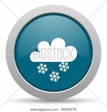 snowing blue glossy web icon