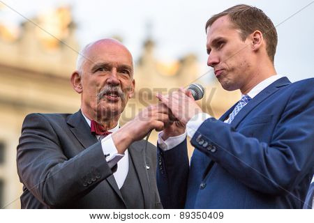 KRAKOW, POLAND - APR 29, 2015: Janusz Korwin-Mikke or JKM, candidate for President of the Republic Poland, during meeting with voters. JKM also Member of the European Parliament.