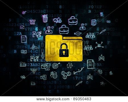 Business concept: Folder With Lock on Digital background