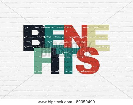 Finance concept: Benefits on wall background
