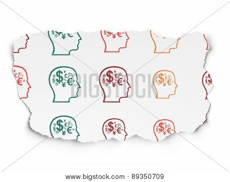 Finance concept: Head With Finance Symbol icons on Torn Paper