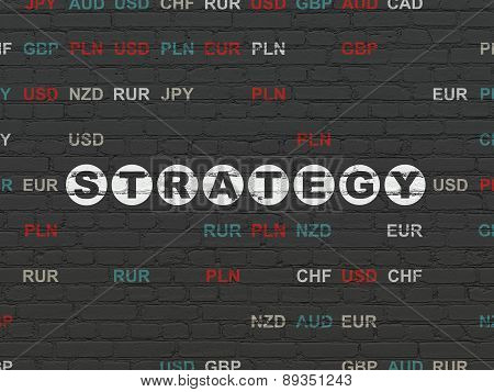 Business concept: Strategy on wall background