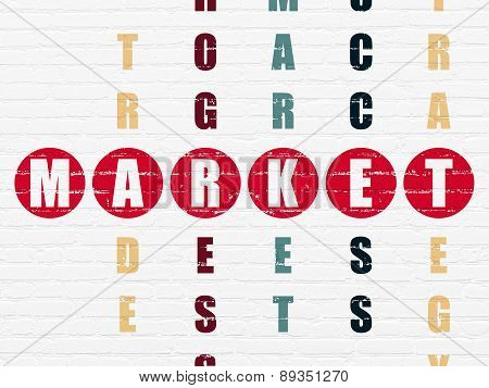 Finance concept: word Market in solving Crossword Puzzle