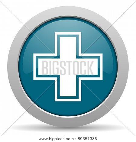 pharmacy blue glossy web icon