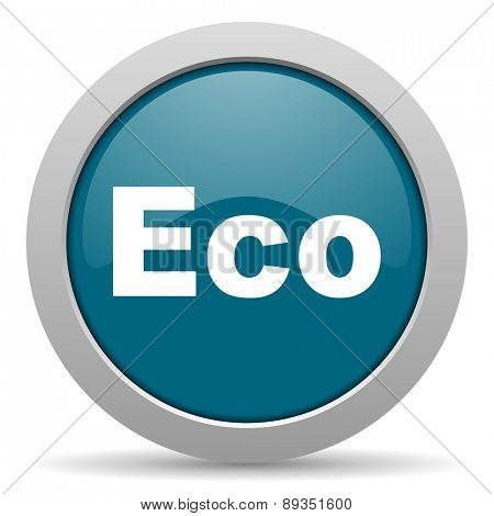 eco blue glossy web icon