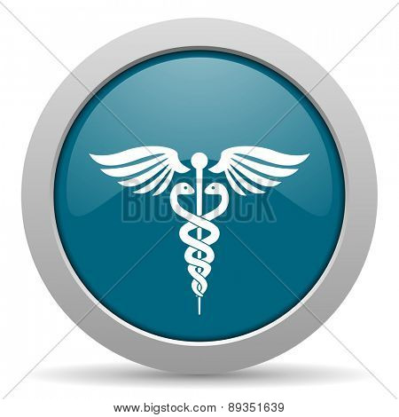 emergency blue glossy web icon