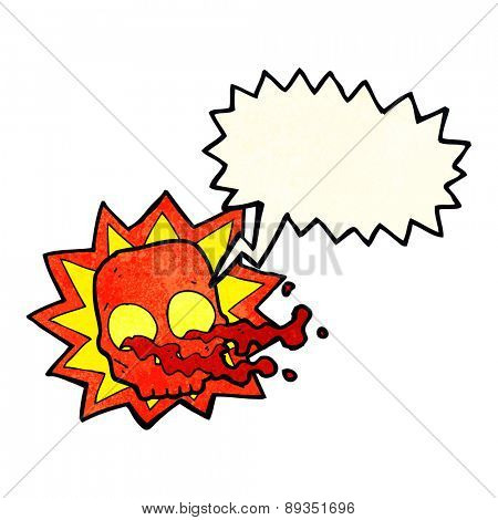 cartoon halloween skull symbol with speech bubble
