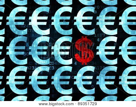 Currency concept: dollar icon on Digital background