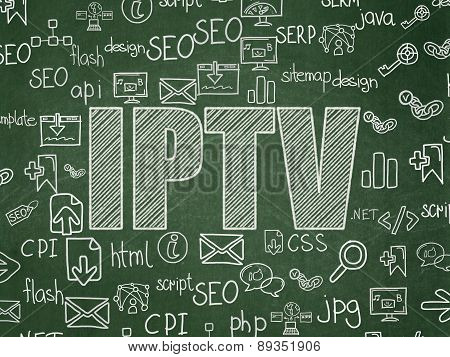 Web design concept: IPTV on School Board background