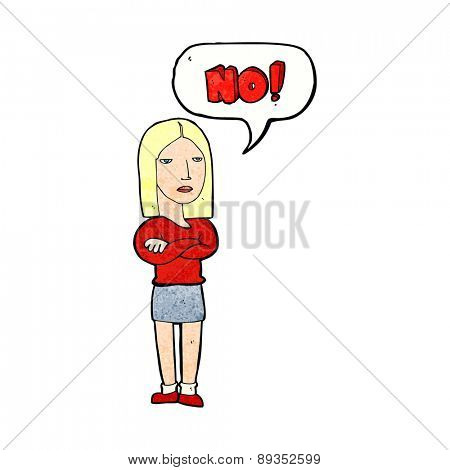 cartoon woman saying no