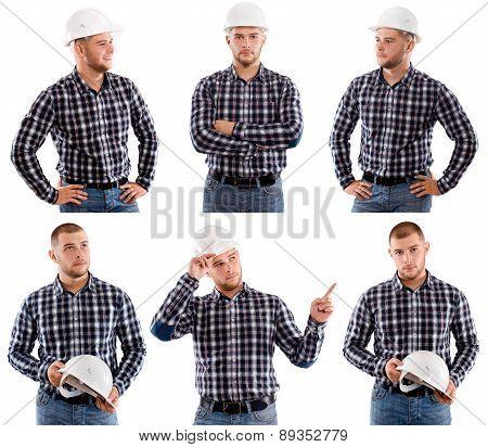 Construction Worker Holding Hardhat