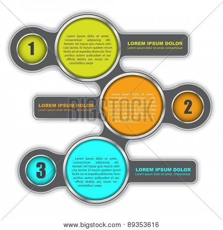 Background diagram with three colored steps and a place for text