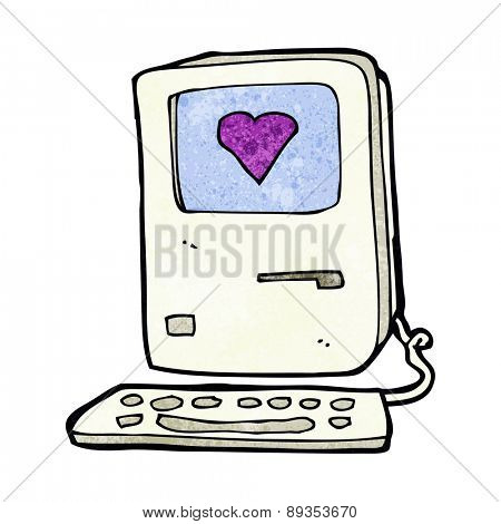 cartoon old computer with love heart