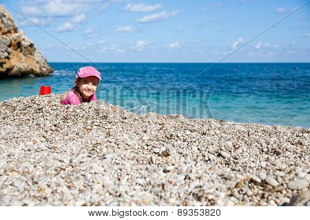 Girl Enjoying Free Time On The Beach