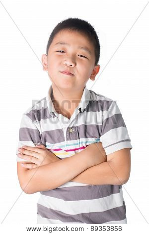 Asian Boy Cross Someone's Arm, Isolated On White Background