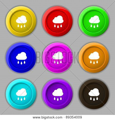 Weather Rain Icon Sign. Symbol On Nine Round Colourful Buttons. Vector