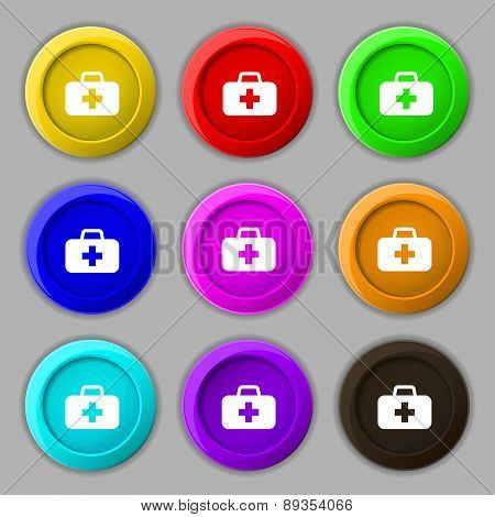 Medicine Chest Icon Sign. Symbol On Nine Round Colourful Buttons. Vector