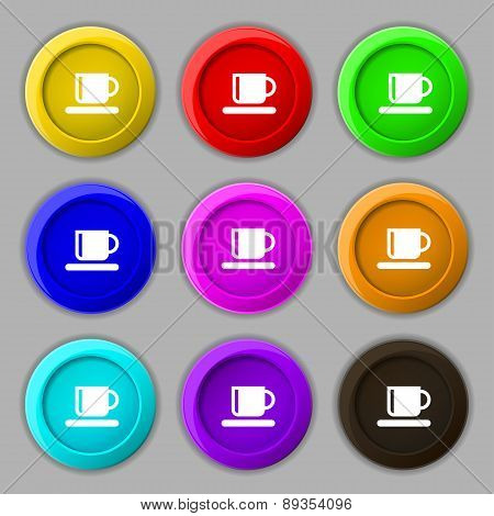 Coffee Cup Icon Sign. Symbol On Nine Round Colourful Buttons. Vector