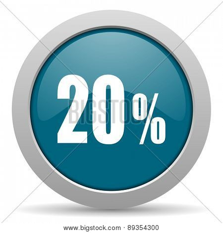 20 percent blue glossy web icon
