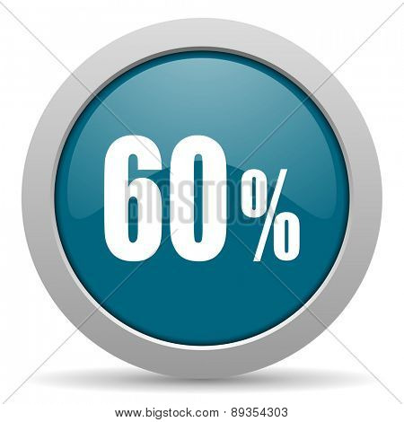 60 percent blue glossy web icon