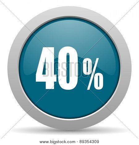 40 percent blue glossy web icon