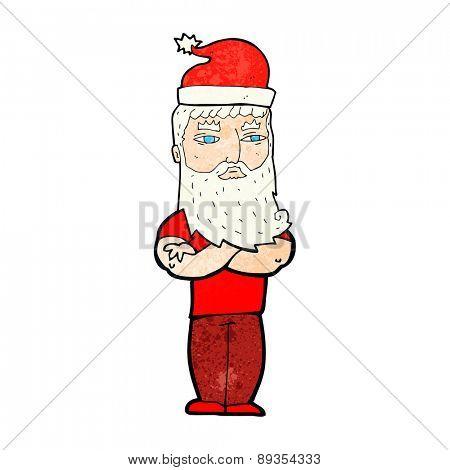cartoon hipster santa claus