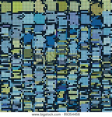 Round Pixel Abstract Background In Blue Yellow