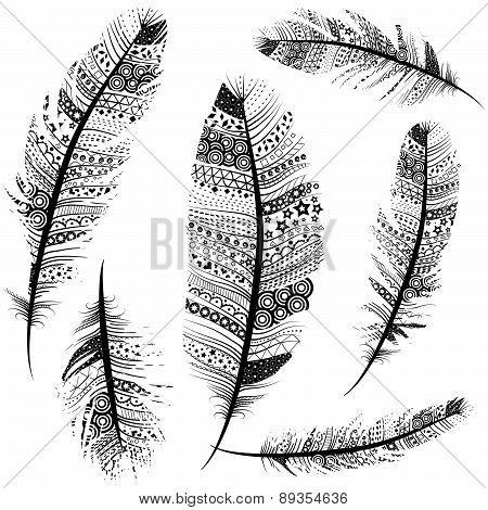 Seamless Feather Pattern Vintage Tribal Feathers Set